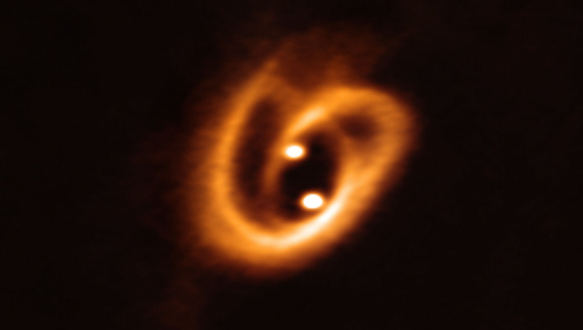 The two stars of the binary system [BHB2007] 11 are in the process of forming, drawing material from the disk surrounding both via a pair of filaments, wound up due to the motion of the stars around each other. Credit: ALMA (ESO/NAOJ/NRAO), Alves et al.