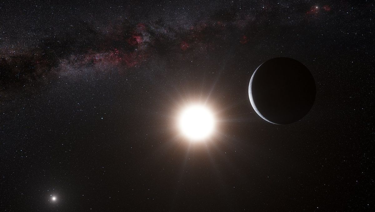 Artwork depicting a planet orbiting Alpha Centauri A. Credit: ESO/L. Calçada