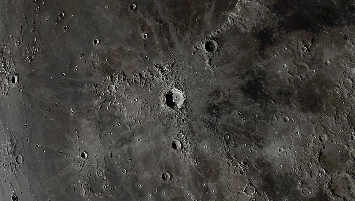 The lunar crater Copernicus, a huge 93-kilometer-wide impact crater in the broad lava plain called Oceanus Procellarum, just to the west of center of the Moon's face. Credit: Andrew McCarthy