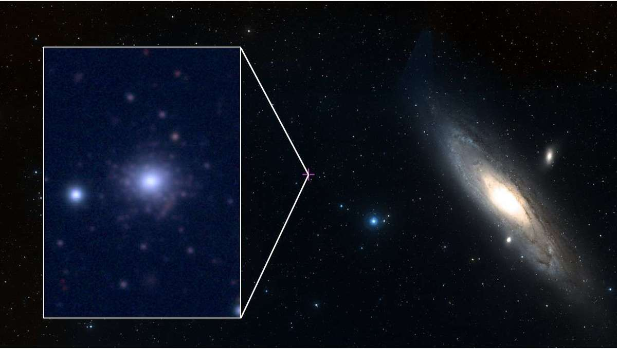 The globular cluster RBC EXT8 (inset, left) orbits the Andromeda galaxy (right) and may be one of the oldest known such clusters. Credit: ESASky and CFHT
