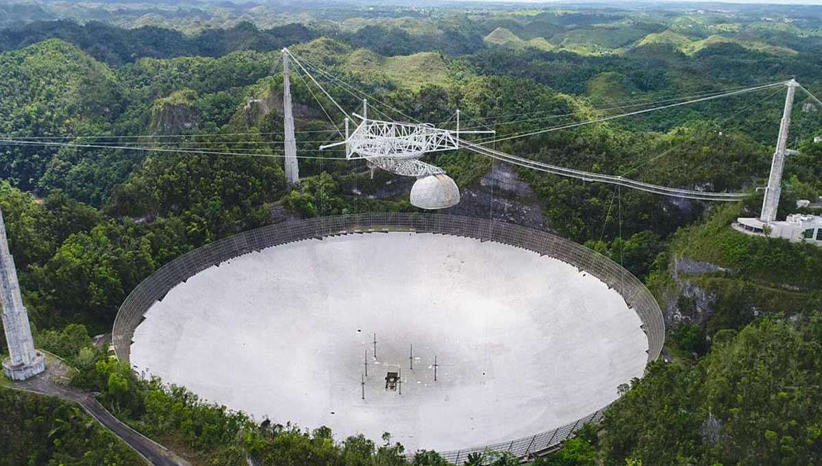 The enormous Arecibo radio telescope in Puerto Rico, in a photo taken in 2019 before it was damaged by broken cables. The NSF plans on decommissioning it soon. Credit: UCF