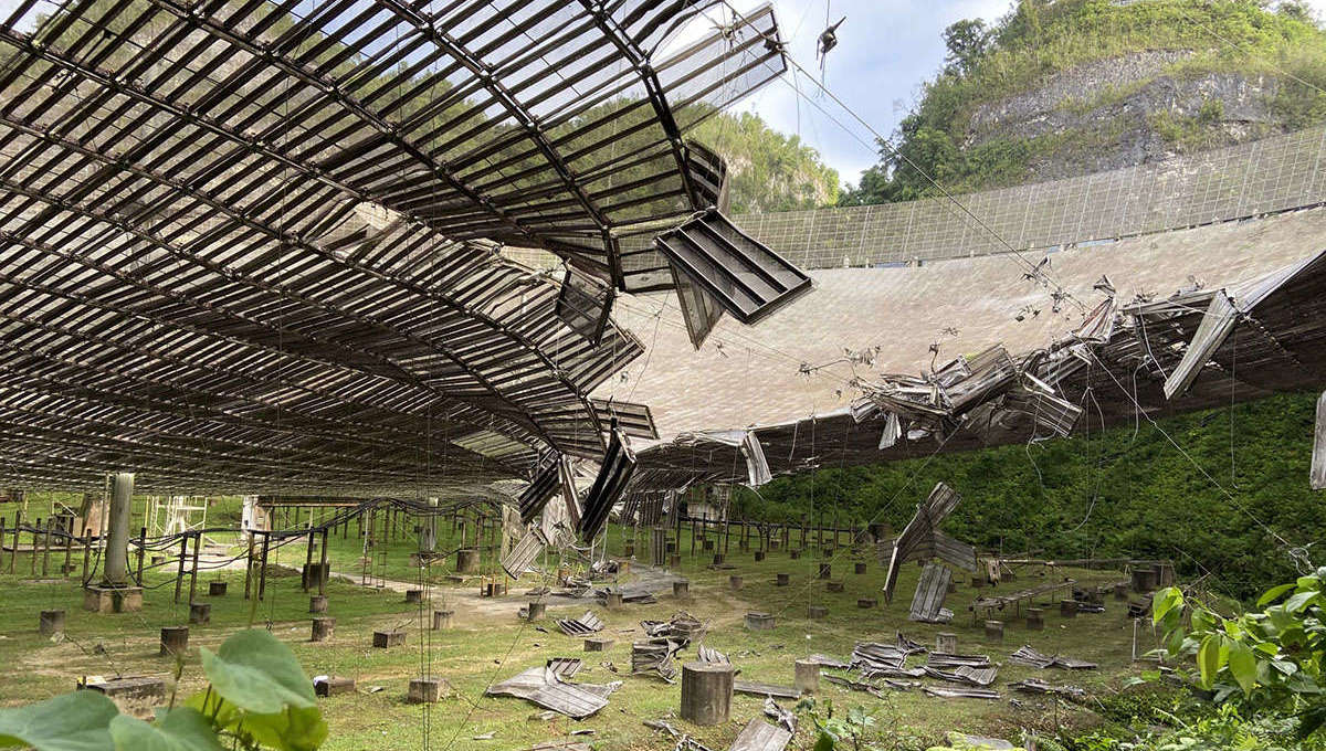 On 10 August 2020 an auxiliary cable broke, damaging some Arecibo radio dish panels. Credit: UCF