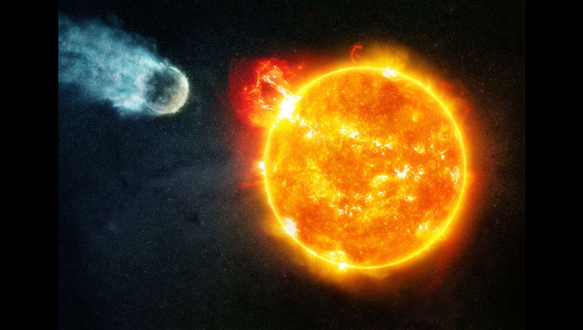 Artwork depicting a flare from a red dwarf stripping away a planet's atmosphere. Credit: NASA/CXC/M. Weiss