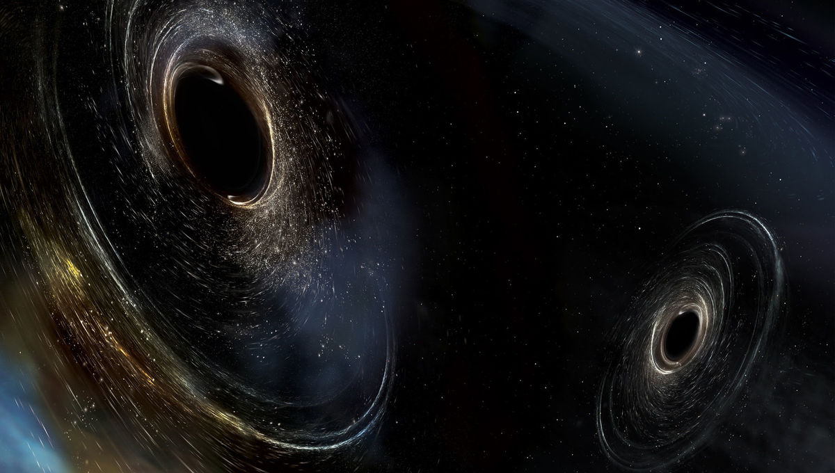 Artwork depicting two black holes orbiting each other. Credit: LIGO/Caltech/MIT/Sonoma State (Aurore Simonnet)