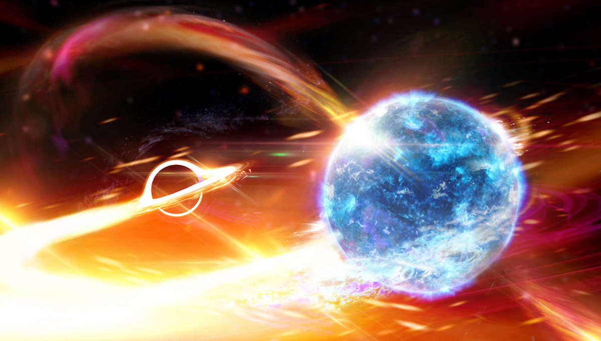 Artwork depicting the merger of a neutron star (right) with a black hole (left). Credit: Carl Knox (OzGrav)