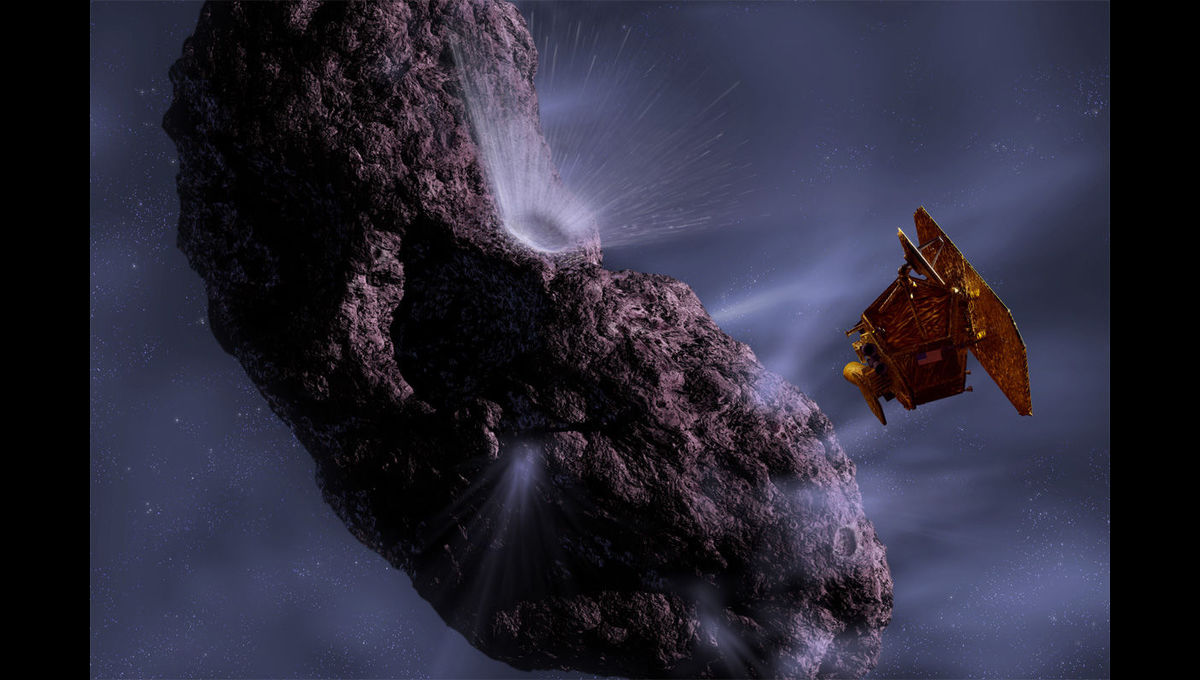 Artwork depicting NASA's Deep Impact mission, which slammed a 370-kilogram copper slug into the comet Tempel 1, to test the concept of pushing dangerous space rocks into safe orbits. Credit: NASA