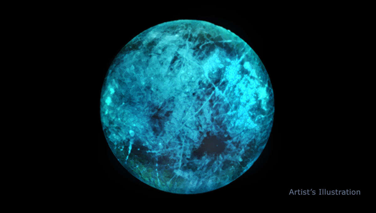 The dark side of Europa may glow a lovely shade of teal, as shown in this artwork, due to radiation bombarding salty ice on its surface. Credit: NASA/JPL-Caltech