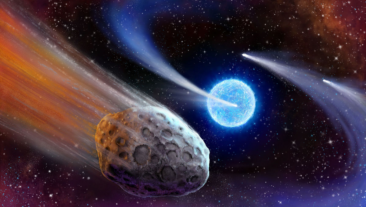 Artwork of comets orbiting another star, which could cause dips in the star's light as seen from Earth. Credit: Danielle Futselaar