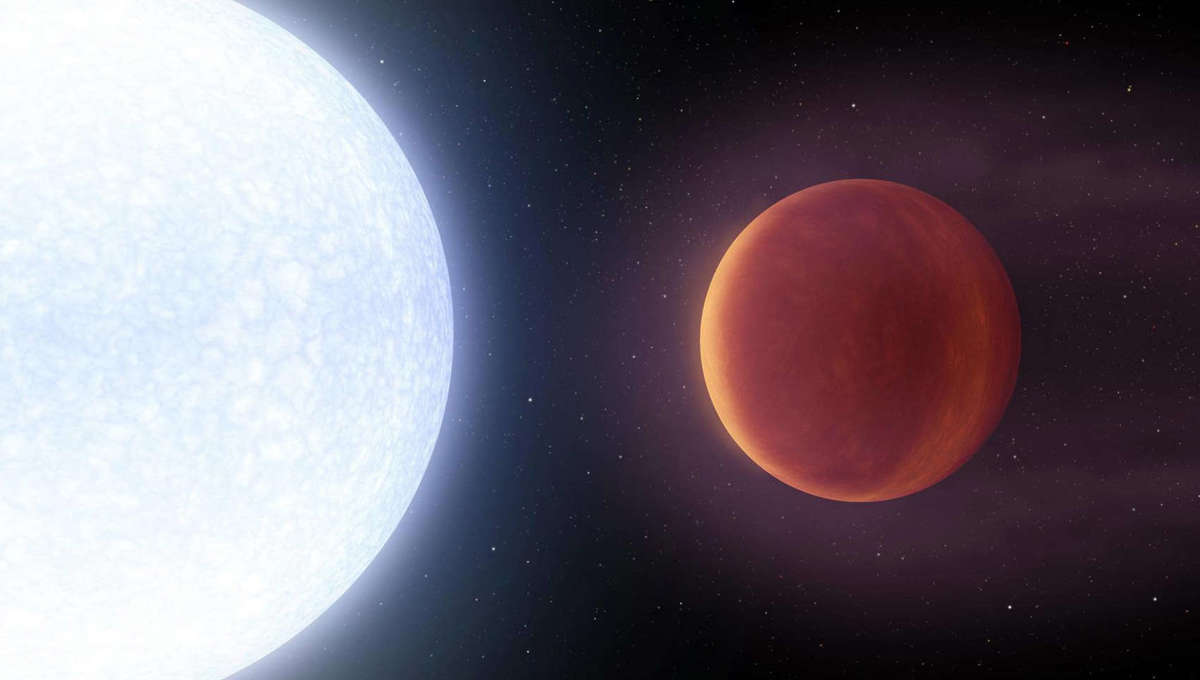 Artwork of a gas giant planet orbiting very close to a star more massive and hotter than the Sun. The planet is losing its atmosphere due to the intense influx of light and heat from the star. Credit: NASA/JPL-Caltech