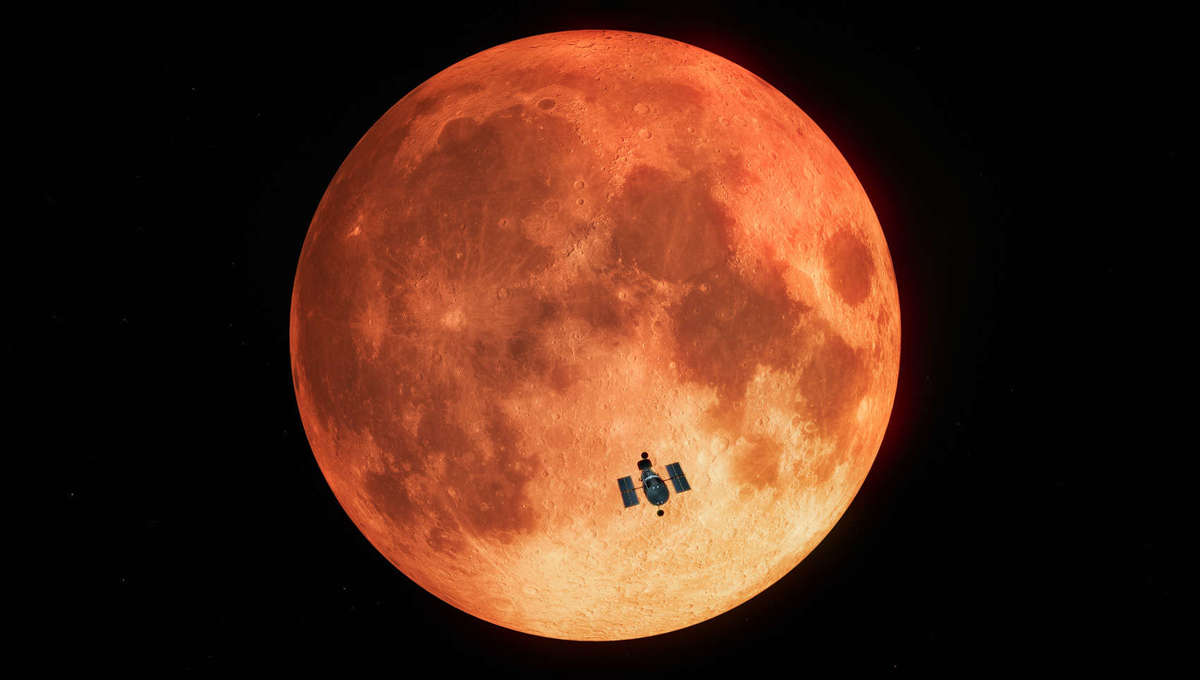 Artwork of Hubble observing the Moon during a total lunar eclipse. Credit:ESA/Hubble, M. Kornmesser