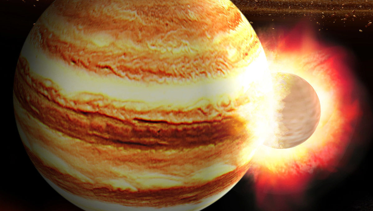 Artwork showing a massive planet impacting the protoJupiter while the solar system was still forming. Credit: K. Suda & Y. Akimoto/Mabuchi Design Office, courtesy of Astrobiology Center, Japan