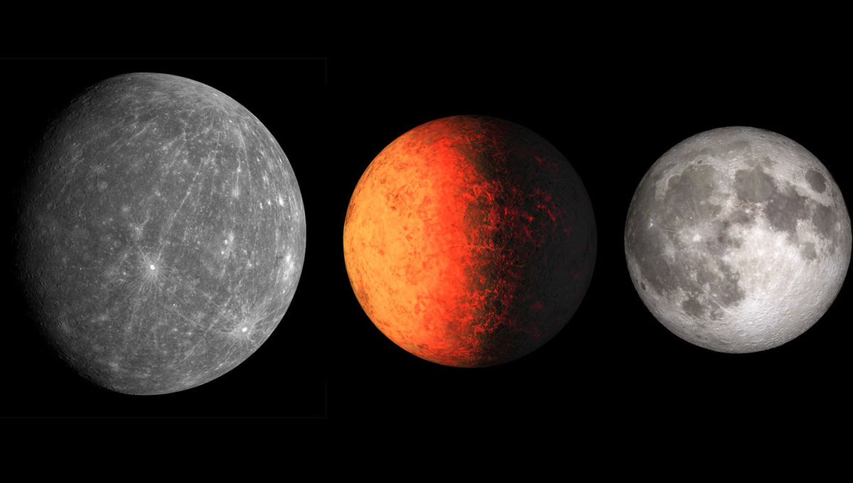 Worlds compared: Mercury (left), Kepler-37b (middle), and our Moon to about the same scale. At this scale, the Earth would fill the picture; it's wider than all three of these worlds combined.