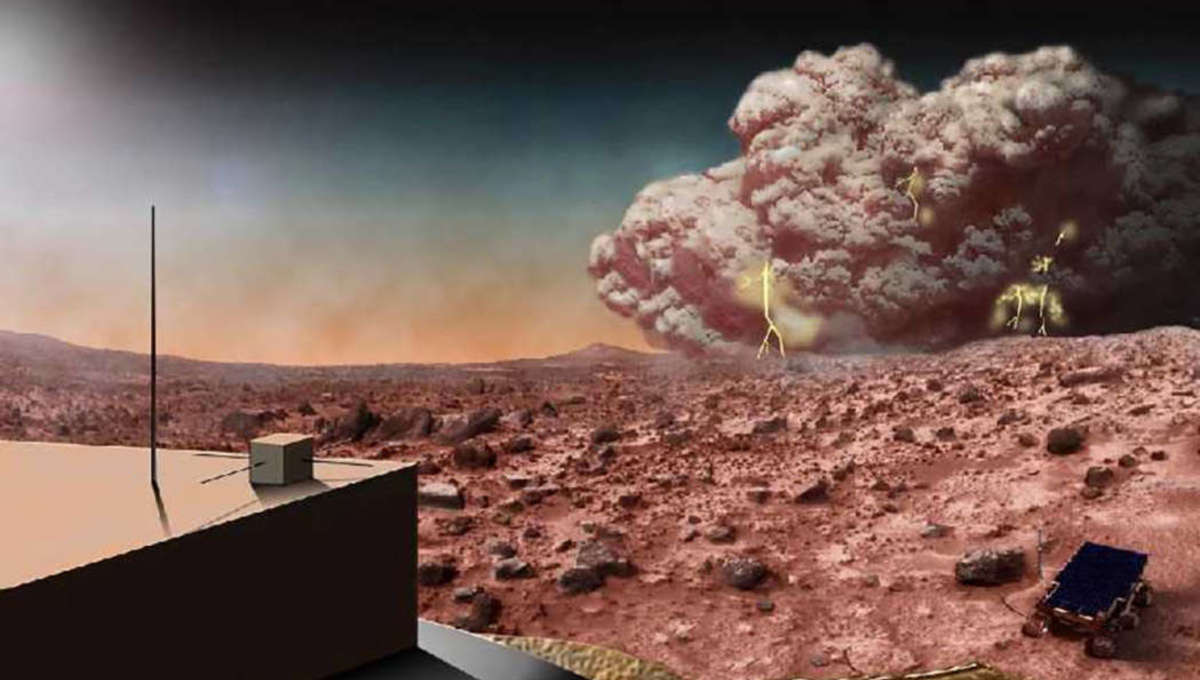Artwork of a Martian dust storm approaching a rover, with small lightning bolts created from electric charge built up as dust grains rub against each other. Credit: NASA