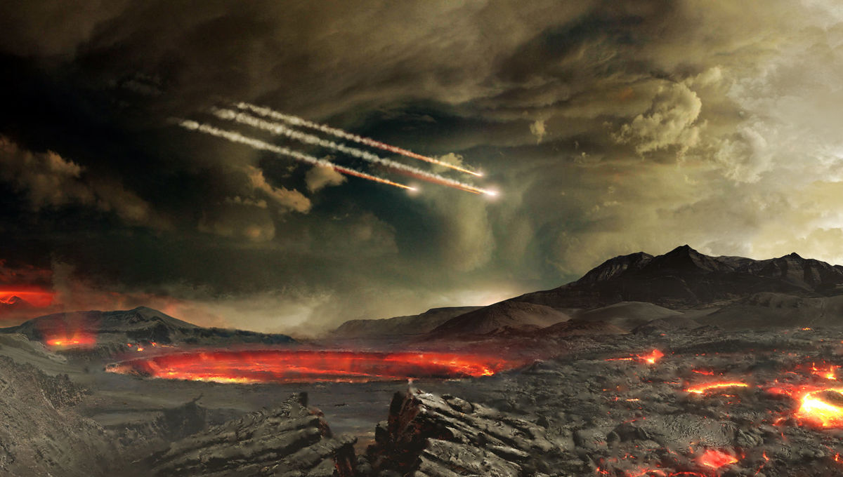 Artwork depicting meteors falling on the early Earth. Did they carry the building blocks for life on them? Many certainly did. Credit: NASA's Goddard Space Flight Center Conceptual Image Lab