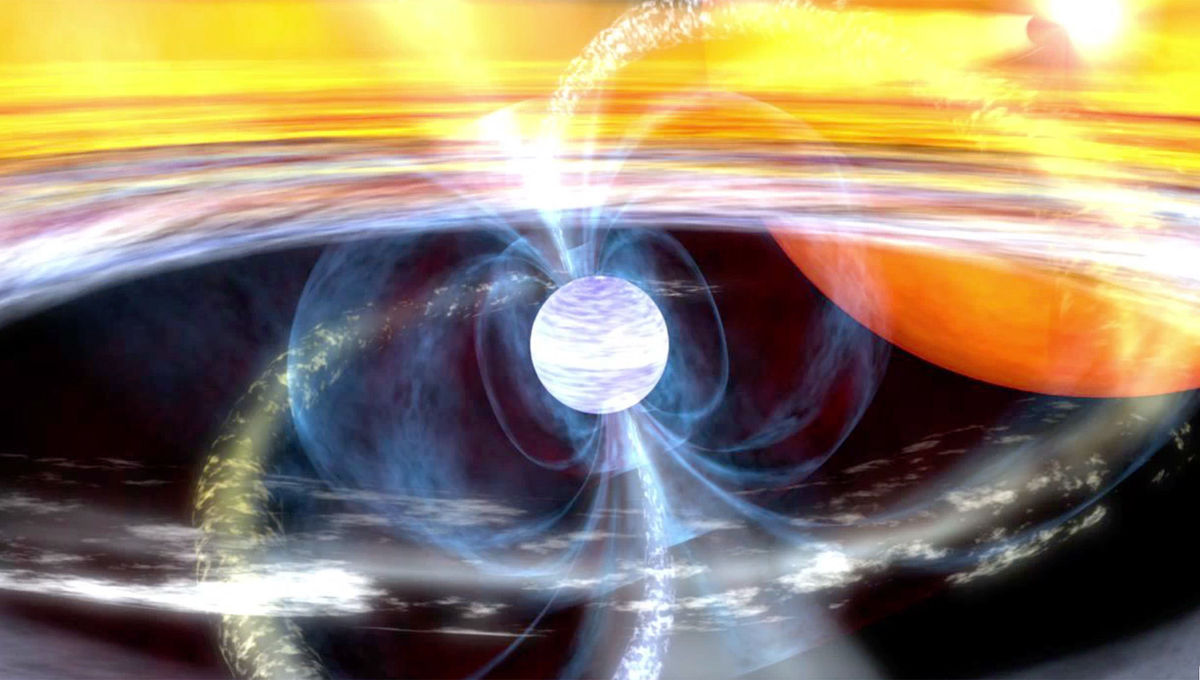 Artwork depicting a millisecond pulsar, sped up to phenomenal rotation rates by material it's eating from its companion star. Credit: NASA / GSFC SVS / Dana Berry