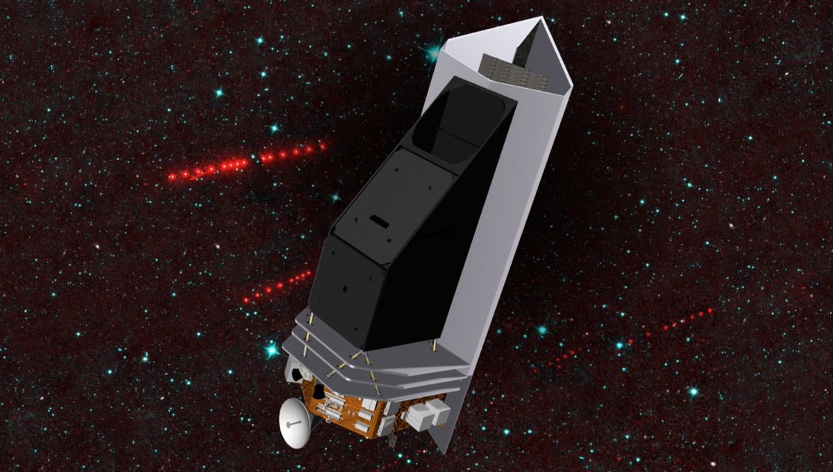 Artwork depicting NEOCAM, a proposed asteroid hunting spacecraft, which will likely be the basis for the new NEOSM mission. Credit: NASA/JPL