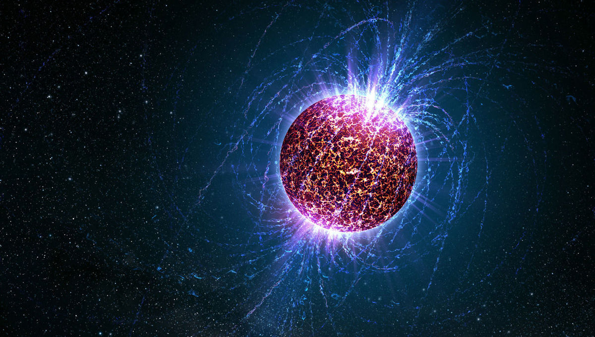 Artwork depicting the magnetic field surrounding a neutron star. Credit: Casey Reed / Penn State University