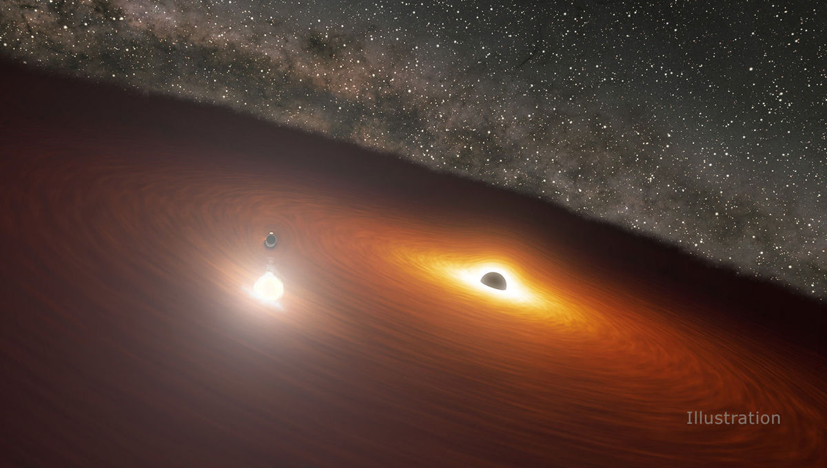 Artwork (not to scale) depicting the binary black hole in the heart of the blazar OJ 287. The less massive black hole plunges through the accretion disk around the more massive black hole, creating a huge bubble of superheated gas. Credit: NASA/JPL-Caltec