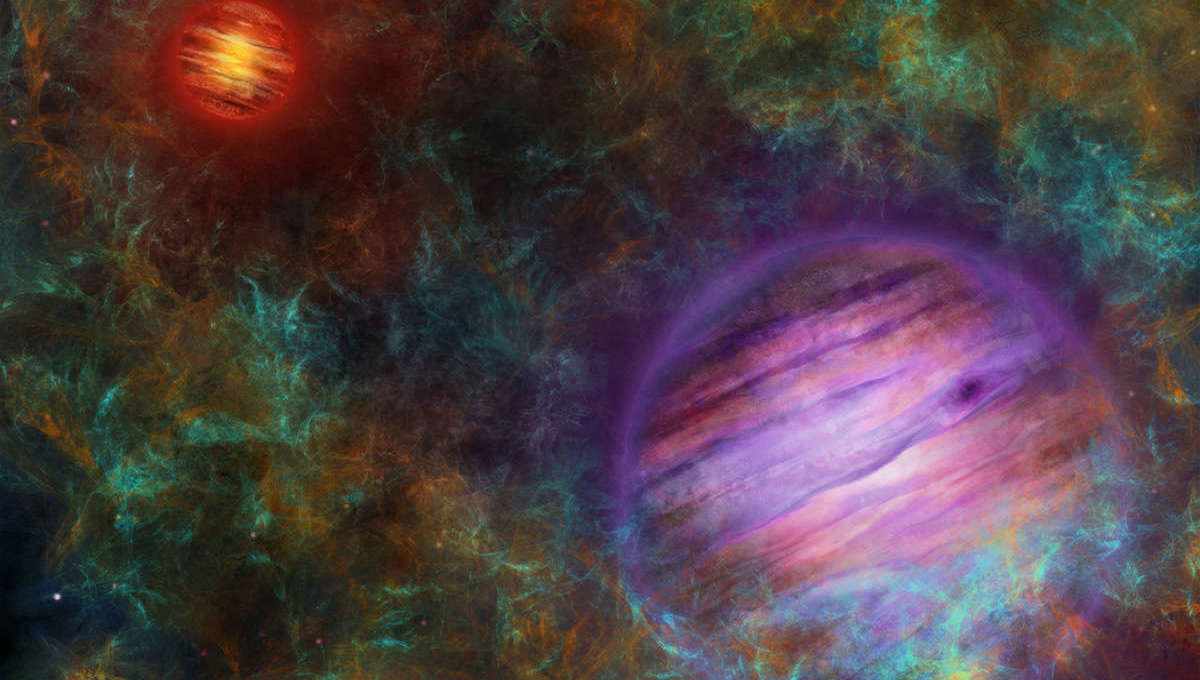 A rather fanciful piece of art showing the brown dwarf Oph 98A (upper left) orbited by a planetary-mass companion. Separated by 30 billion km, they would each appear as dots from the other. Credit: Thibaut Roger / University of Bern