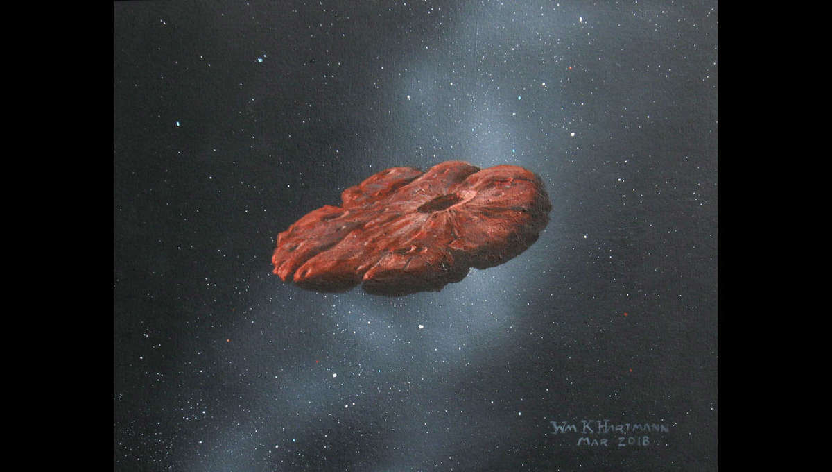 Artwork depicting the interstellar object 'Oumuamua, which may be a flattened pancake of nitrogen ice. Credit: William Hartmann