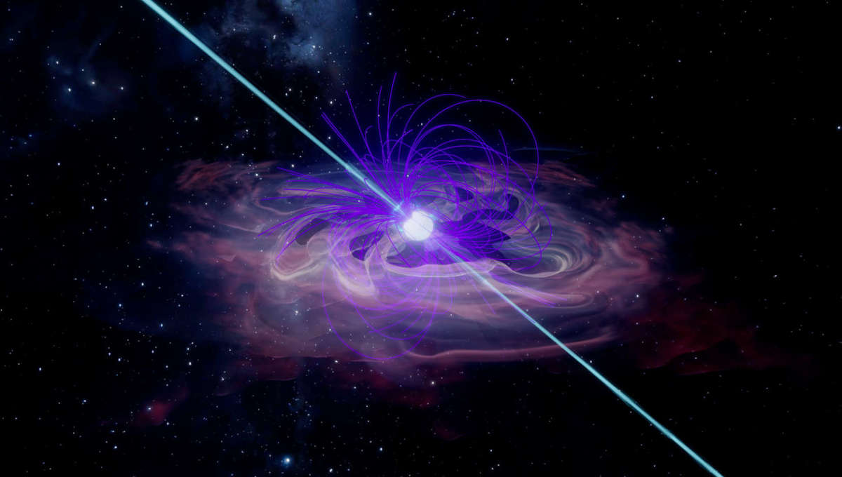 Artwork showing a rapidly spinning magnetically powerful pulsar pumping energy into the gas around it, creating a pulsar wind nebula. Credit:  Illustration: INAF-Osservatorio Astronomico di Palermo/Salvatore Orlando