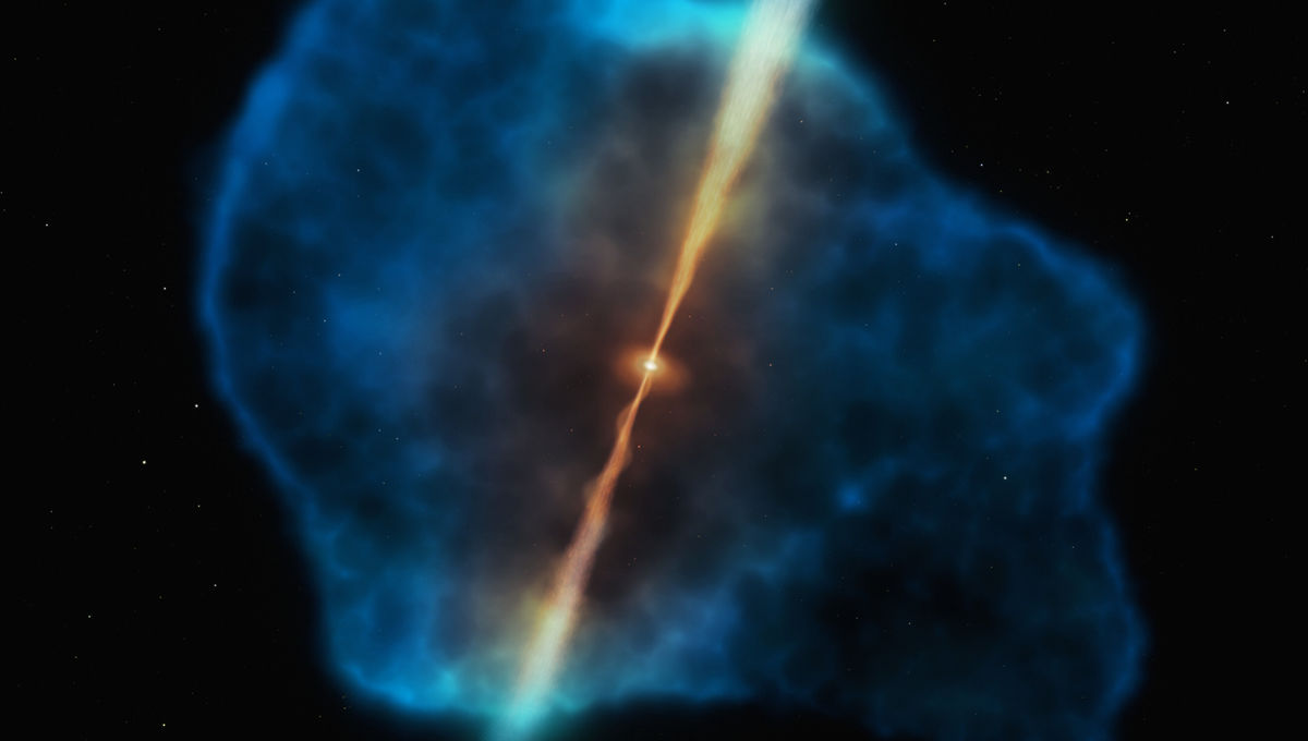 In this piece of art, an active galaxy called a quasar blasts out energy and matter in two jets which blow matter away from it. However, it's also surrounded by a huge halo of gas (blue) that can fall toward the center.