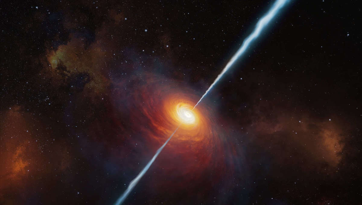 Artwork depicting a distant quasar, an actively feeding supermassive black hole in the center of a galaxy, blasting out jets of matter and energy. Credit: ESO/M. Kornmesser