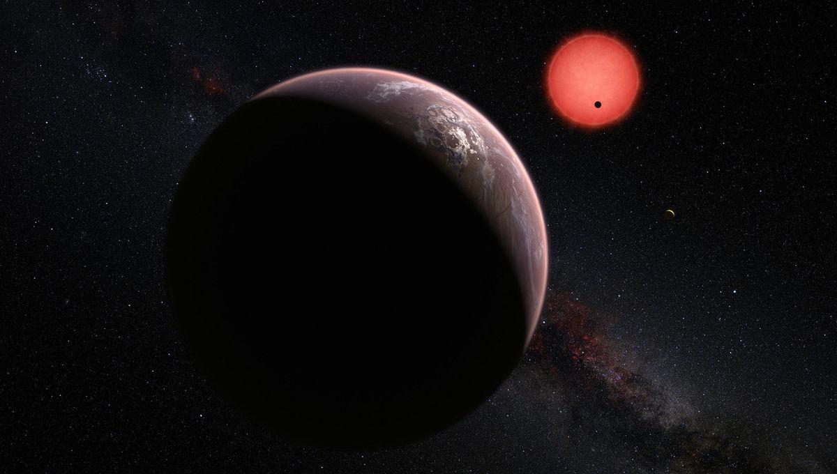 Artwork depicting planets orbiting a red dwarf star. Credit:  ESO/M. Kornmesser/N. Risinger (skysurvey.org)