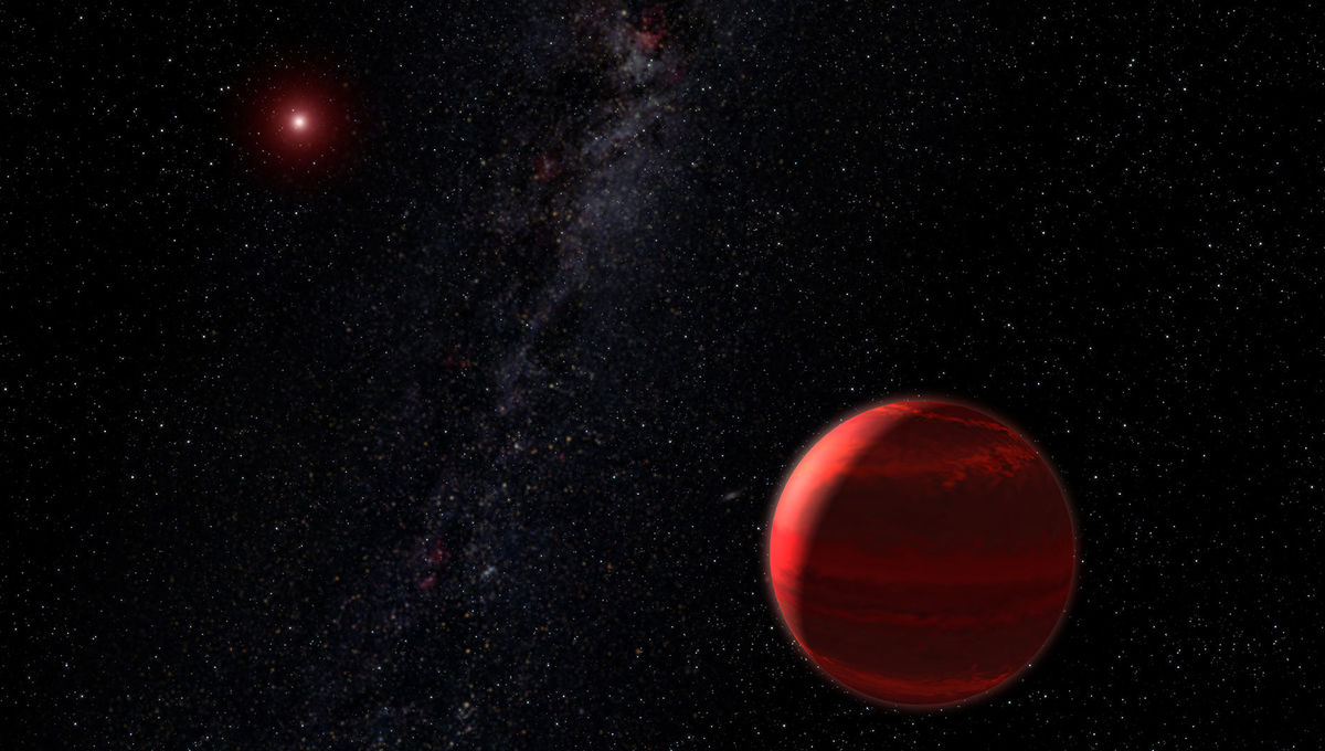 Artwork showing a gas giant planet orbiting a red dwarf. Credit: NASA, ESA, and G. Bacon