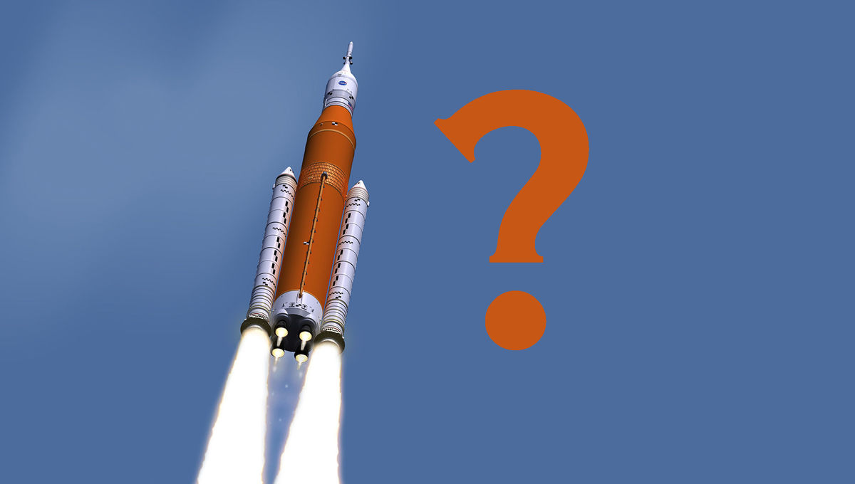 Artwork depicting NASA's Space Launch System (SLS) in flight. But do we really need this rocket? Credit: NASA