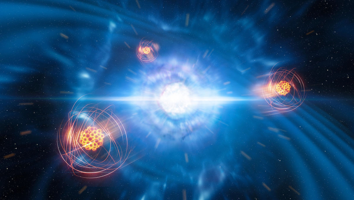 Artwork depicting strontium atoms flying away from the explosive merger of two neutron stars. Credit: ESO/L. Calçada/M. Kornmesser