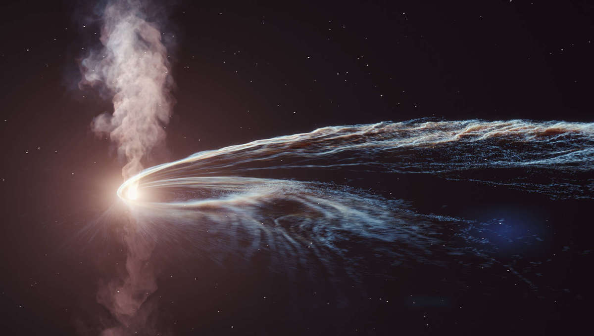 Art depicting a star torn apart by a black hole. The destruction leaves a long looping trail of stellar material around the black hole, and could prompt beams of energy and matter blasting away from the black hole. Credit: DESY, Science Communication Lab