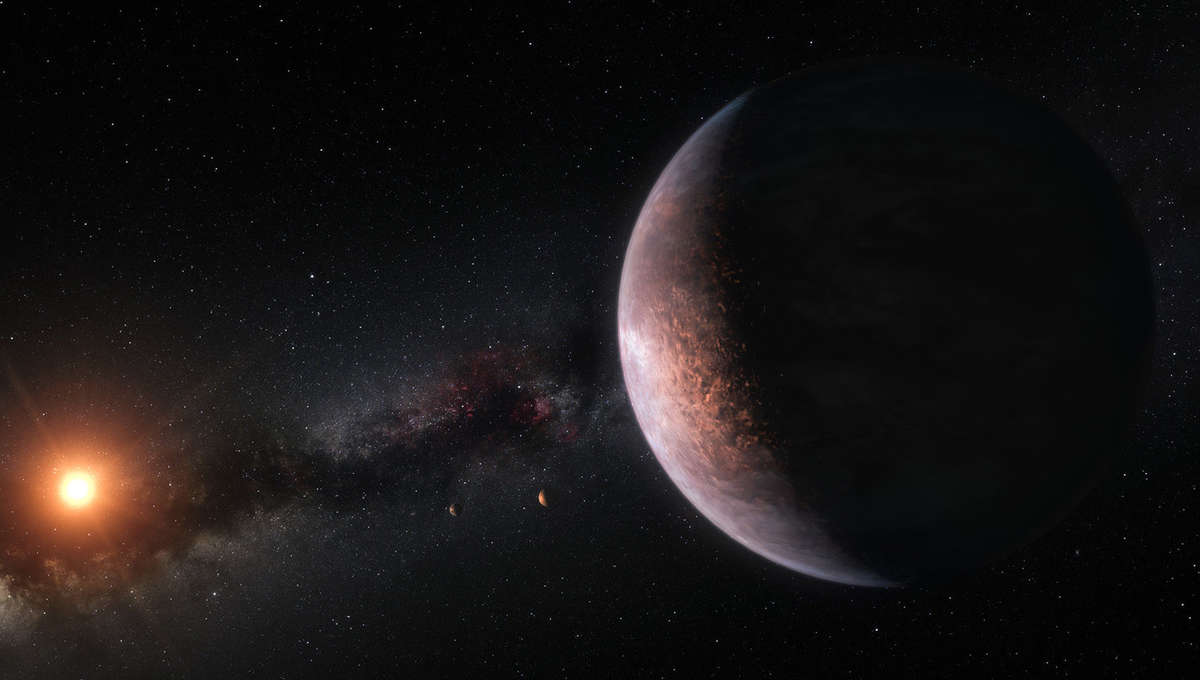 Artwork depicting a potentially habitable planet orbiting the nearby red dwarf star TRAPPIST-1. Credit: ESO / M. Kornmesser