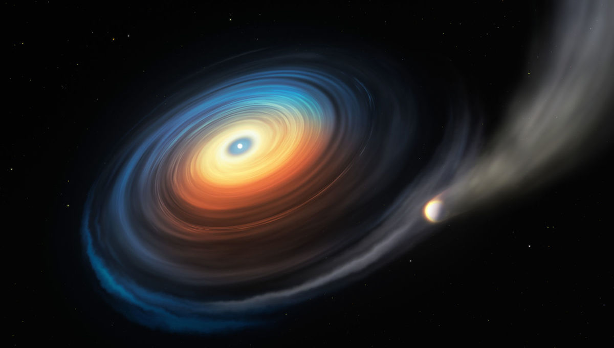 Artwork depicting a white dwarf evaporating a close-orbiting giant planet, with some of that material forming a disk around the dead star. Credit: ESO/M. Kornmesser