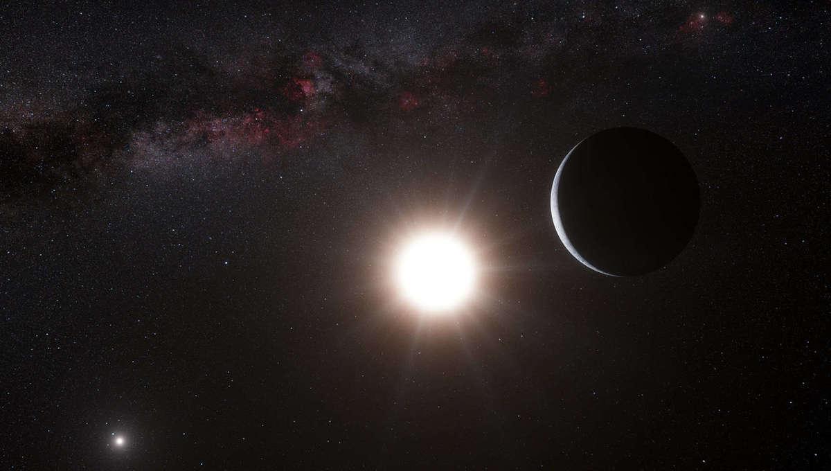 Artwork depicting an exoplanet orbiting one of the two stars making up the binary Alpha Centauri. Credit:ESO/L. Calçada/Nick Risinger (skysurvey.org)