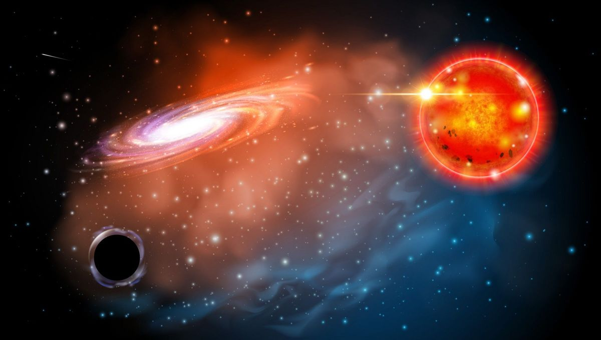 Fanciful artwork depicting a low-mass stellar black hole (lower left) and a red giant star orbiting each other. Credit: Ohio State / Jason Shults