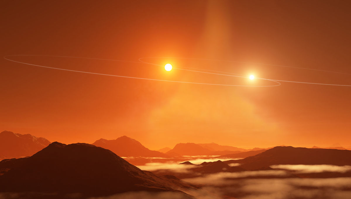 Artwork depicting a circumbinary exoplanet orbiting a tightly-spaced pair of stars; their orbits shown as nearly-edge on ellipses in the sky. In this case, the Tattooine-like planet really would very likely orbit in that same plane.