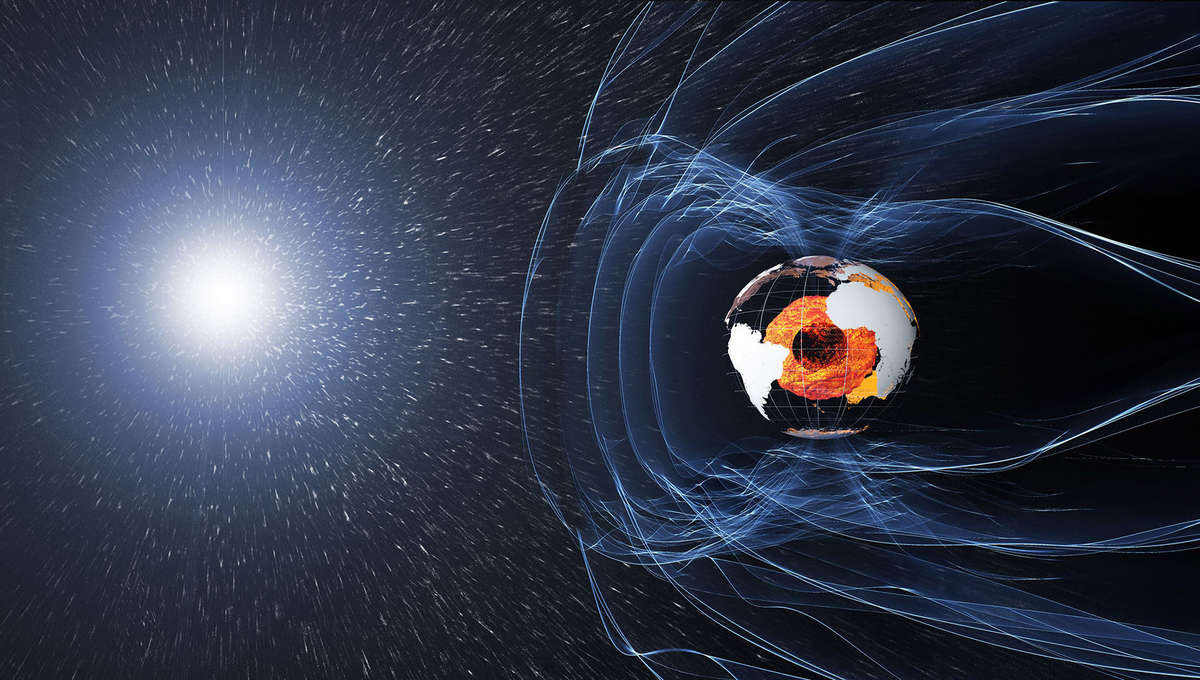 The Earth's magnetic field acts like a shield, protecting us from subatomic particles form the Sun. Credit: ESA