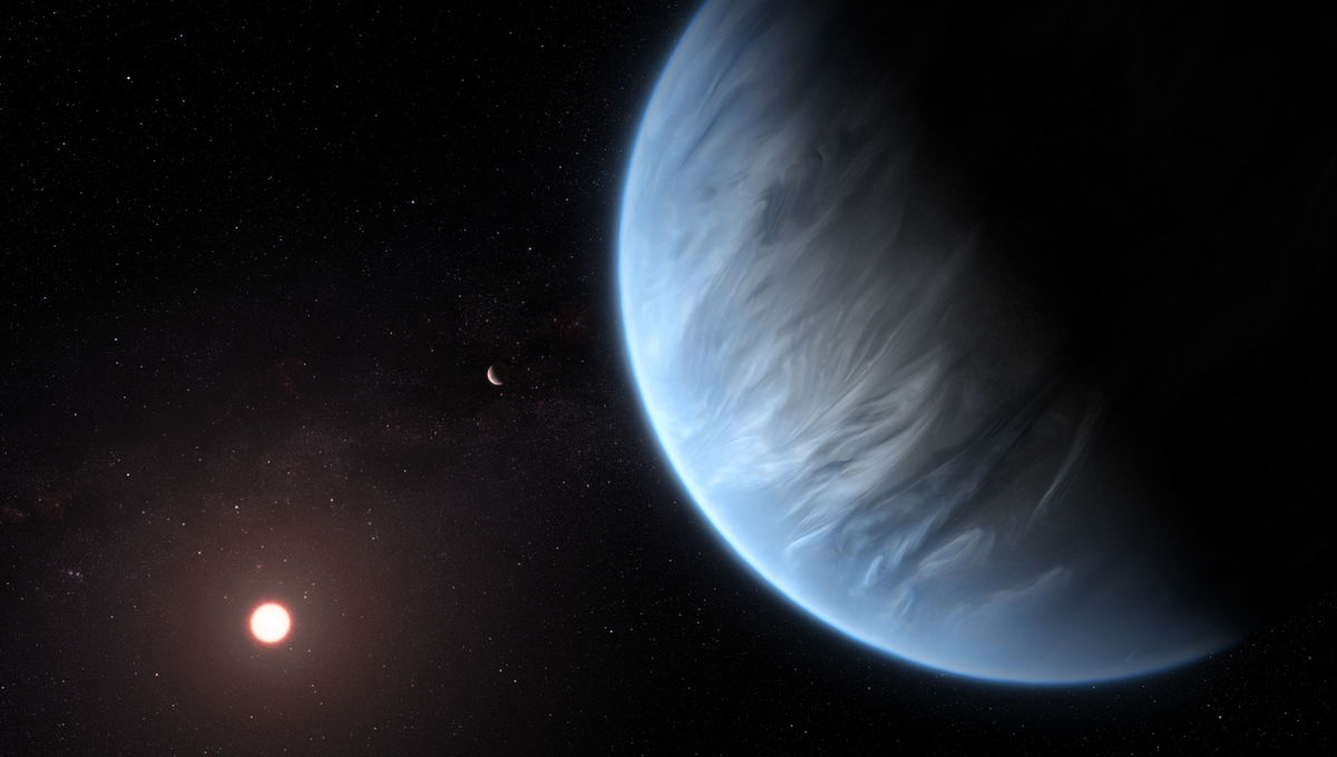 Artwork depicting the mini-Neptune exoplanet K2-18b, recently discovered to have water vapor in its atmosphere. Credit: ESA/Hubble, M. Kornmesser