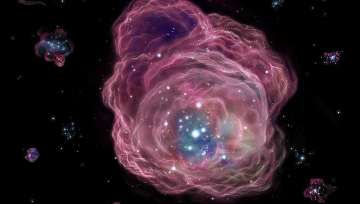 Artwork depicting the first stars in the Universe lighting up the gas clouds from which they were born. Credit: NAOJ