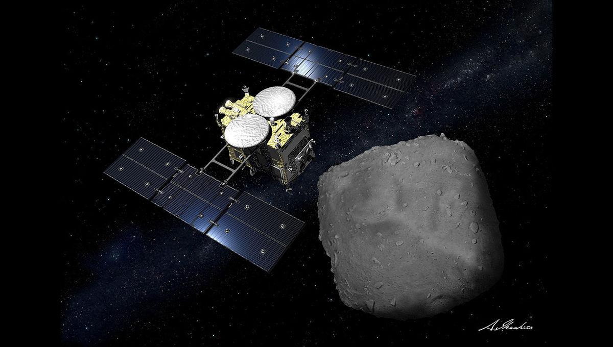 Artwork showing Hayabusa2 arriving at the tiny asteroid Ryugu. Credit: Akihiro Ikeshita