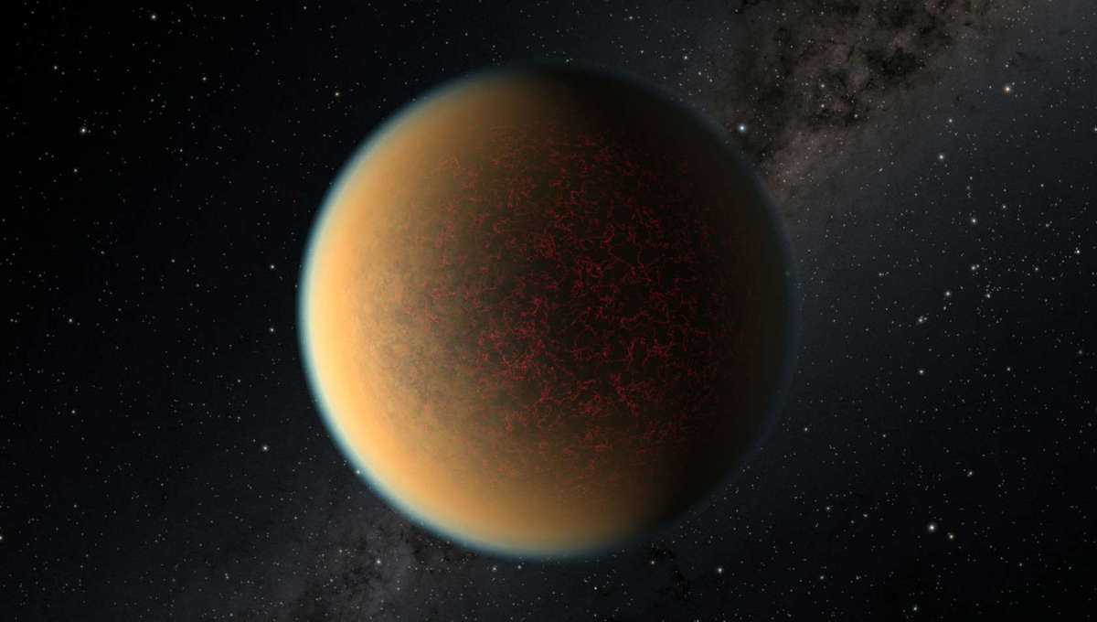 Artwork depicting a rocky super-Earth planet orbiting closely to its host star. This one has a thin atmosphere, which can be examined from Earth as the planet transits its star. Credit: NASA, ESA, and R. Hurt (IPAC/Caltech)
