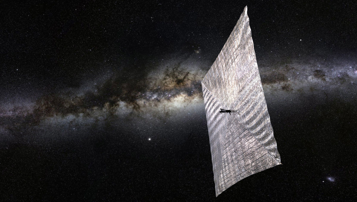 Artwork depicting The Planetary Society's solar sail in space. Credit: Josh Sprading / The Planetary Society