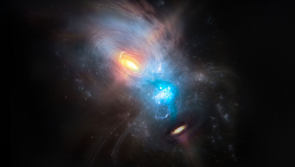 Artwork depicting the chaos of galactic collision: NGC 6240 is two galaxies colliding, each with their own supermassive black hole surrounded by huge amounts of gas. Credit: Credit: NRAO/AUI/NSF, S. Dagnello