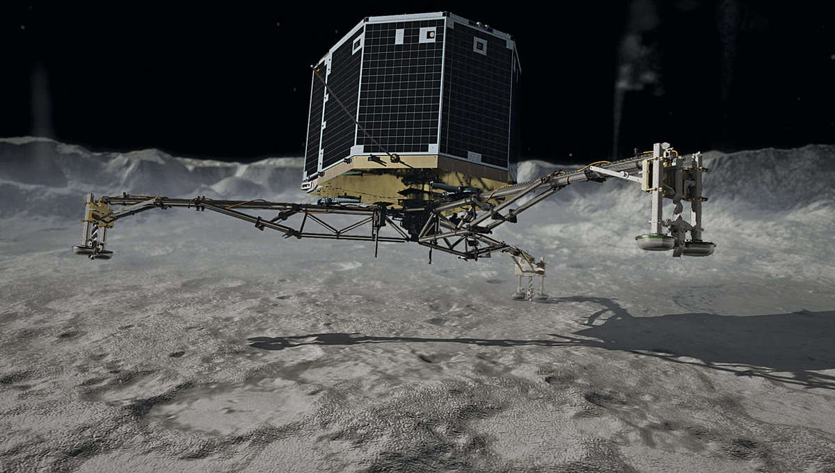 Artwork showing the Philae lander just before contacting the surface of the comet 67P/Churyumov-Gerasimenko.Credit: DLR (CC-BY 3.0)