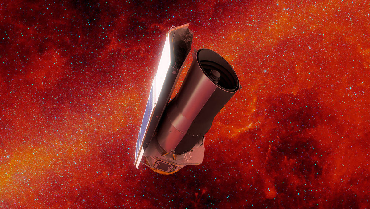 Artwork of Spitzer Space Telescope against a background of the sky seen in infrared. Credit: NASA/JPL-Caltech/R. Hurt (IPAC)