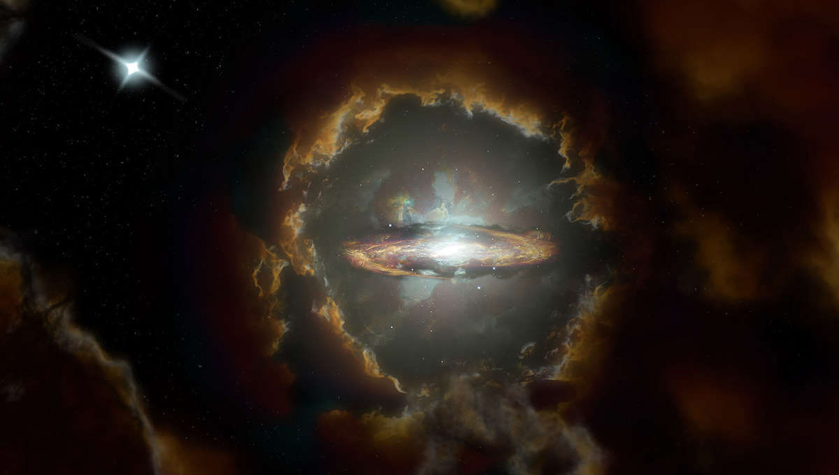 Artwork depicting the Wolfe Galaxy, a massive disk galaxy similar to the Milky Way that was already well formed when the Universe was 1.5 billion years old. Credit: NRAO/AUI/NSF, S. Dagnello