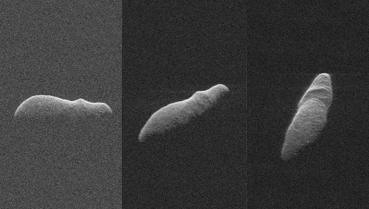Radar images of the asteroid 2003 SD220 using Goldstone and the Greenbank Telescope show it to be an elongated rock rotating extremely slowly. Credit: NASA/JPL-Caltech/GSSR/NSF/GBO