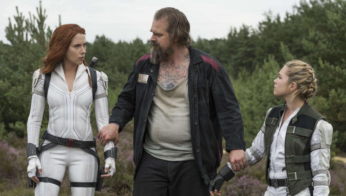 Black Widow Still Scarlett Johansson David Harbour Florence Pugh
