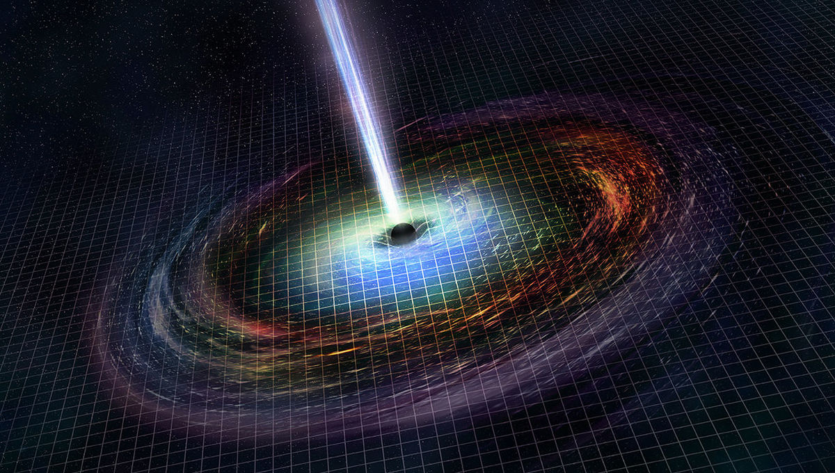 Artwork showing a newly-formed black hole with material swirling around it, and jets of energy and matter blasting away from its poles. Credit: NASA/CXC/M.Weiss